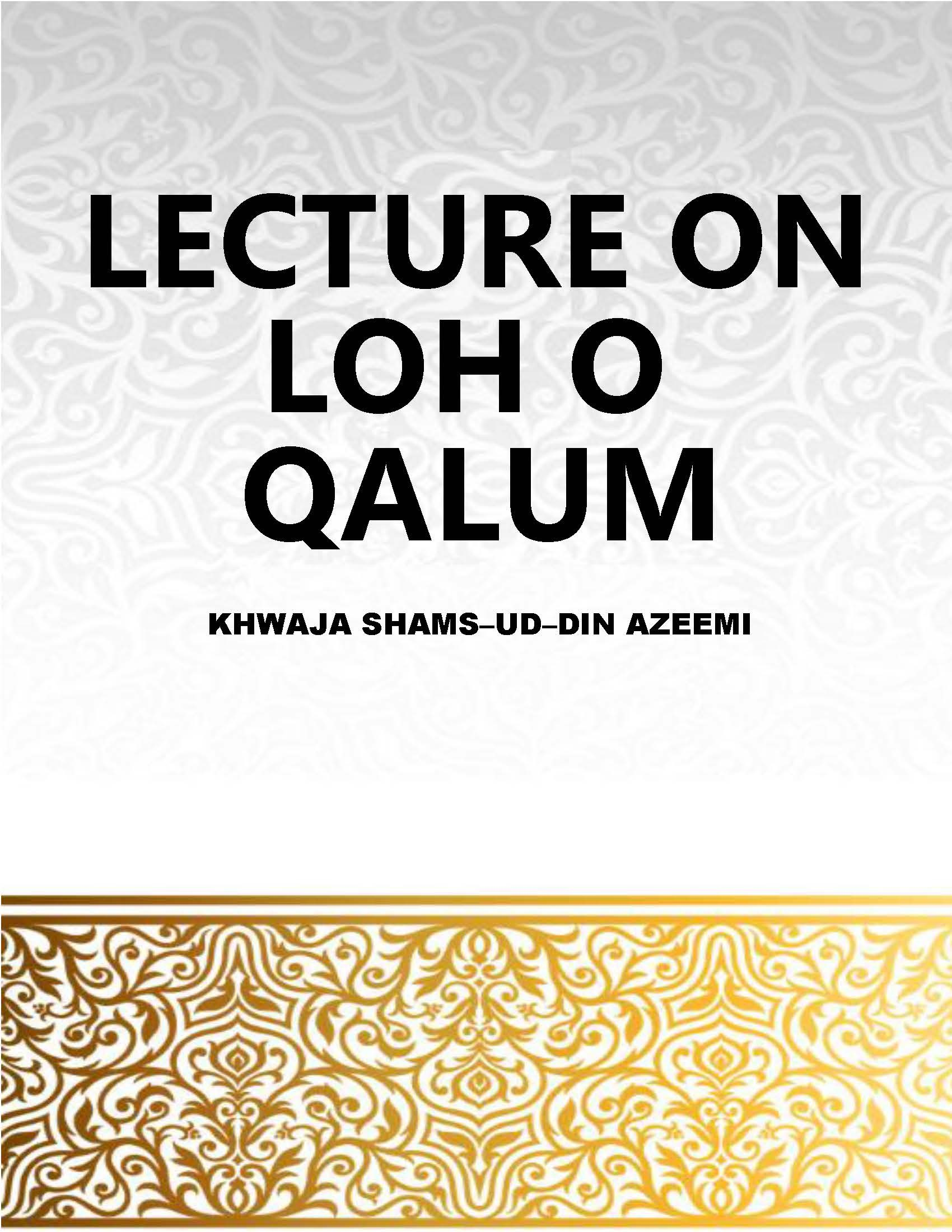 LECTURE ON LOH O QALUM